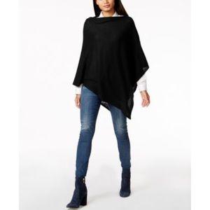 100% Cashmere Black Asymmetrical Poncho